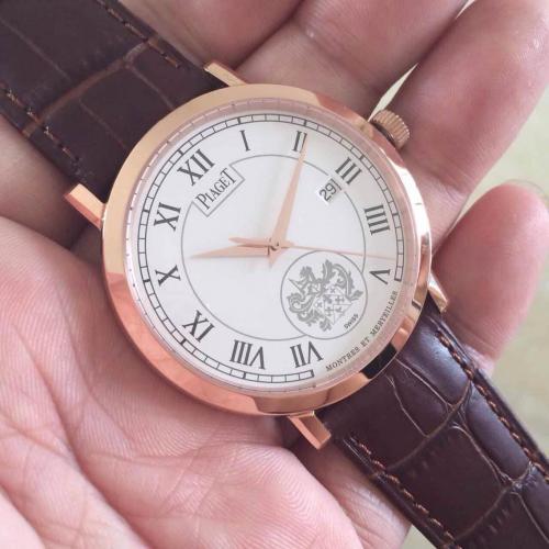 伯爵三针自动机械男士腕表 18K玫瑰金白面罗马刻度手表 透底