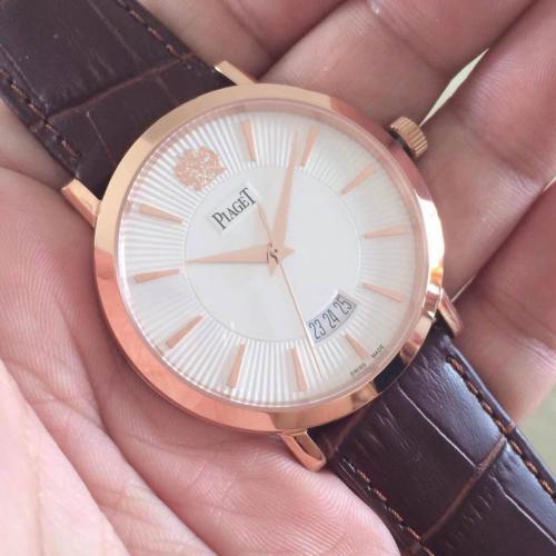 伯爵三针自动机械男士腕表 白面条丁刻度 透底 瑞士机芯手表