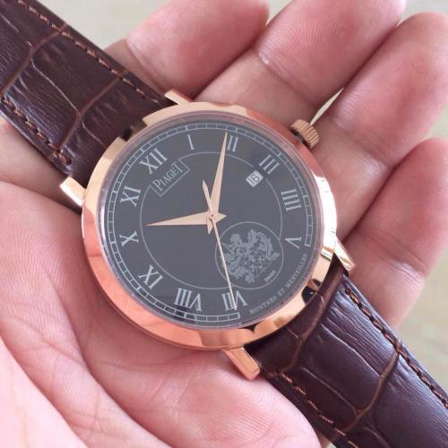 顶级名表 伯爵男士腕表 18K玫瑰金 黑面罗马刻度 透底 瑞士ETA2824-2机芯