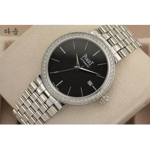 高仿手表 一比一 伯爵自动机械手表 全钢全自动 透底 316L精钢 黑面条丁刻度