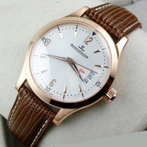 瑞士积家Jaeger LeCoultre男表 18K玫瑰金全自动机械真皮表带3日历白面男士手表