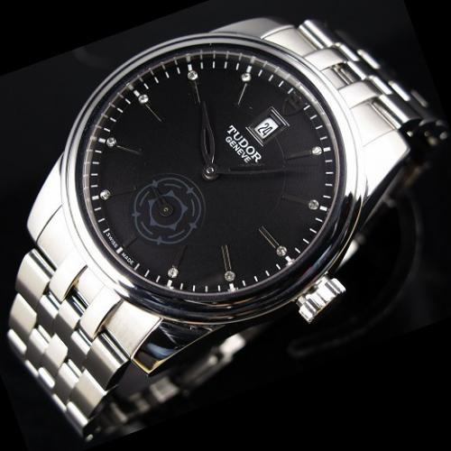 瑞士帝舵男表 骏钰运动系列独立小秒全钢钢带金全自动机械黑面男士手表