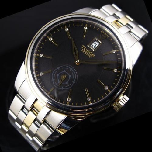 瑞士帝舵骏珏运动系列18K金全自动机械黑面男士手表