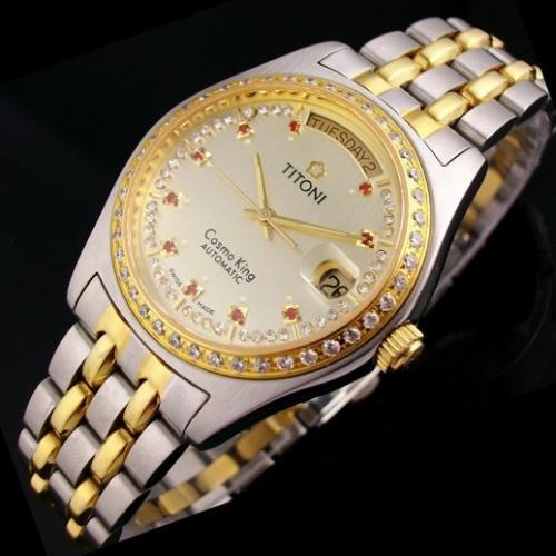 瑞士名表 梅花宇宙系列 外壳镶钻18K间金钢钻石刻度双日历男士手表 瑞士ETA机芯 金面