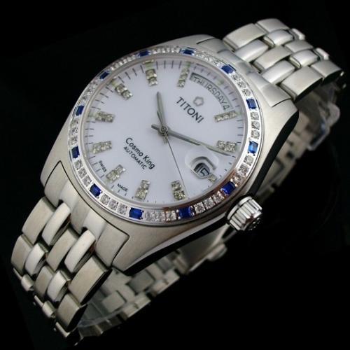 瑞士名表 梅花宇宙系系列 外壳镶钻全钢钢带钻石刻度男士手表 瑞士ETA机芯 白面