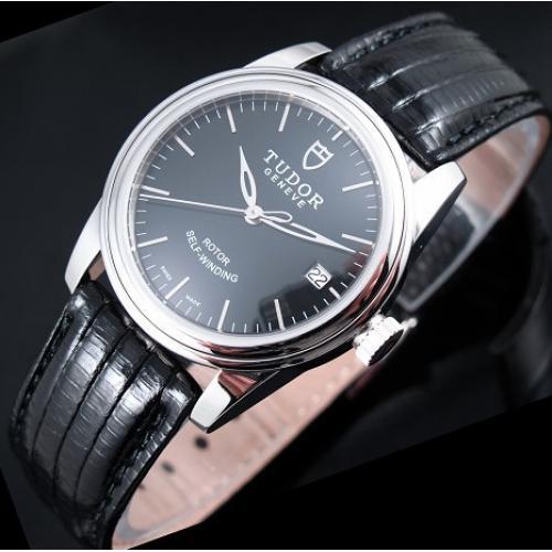 帝舵骏珏系列 真皮表带三针条丁刻度全自动机械男表 瑞士原装机芯手表