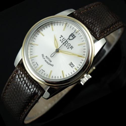 帝舵骏珏系列男士手表 白面条丁刻度 瑞士机芯 全自动机械男表 香港组装腕表