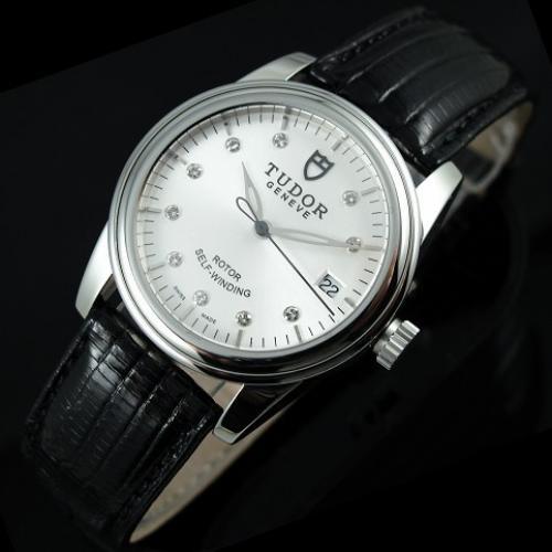 瑞士名表 帝舵骏珏系列 真皮表带三针钻石刻度全自动机械男表 瑞士机芯 香港组装手表