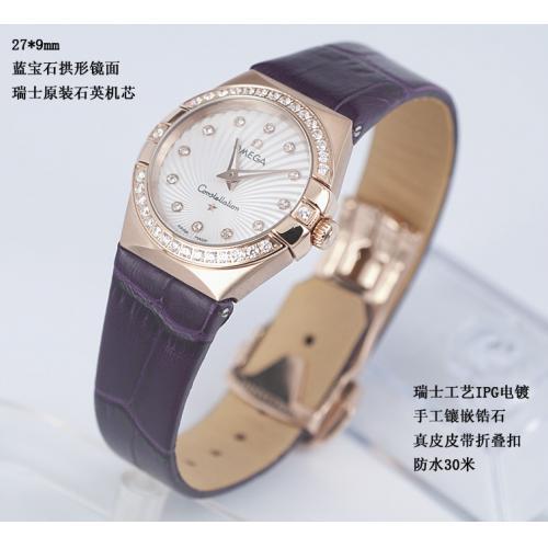 欧米茄星座双鹰系列 镶钻18K玫瑰金女士石英手表