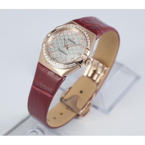 欧米茄星座双鹰系列镶钻18K玫瑰金女士石英手表 瑞士原装石英机芯 香港组装