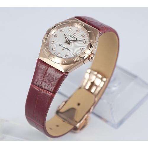 瑞士名表 欧米茄星座双鹰系列镶钻18K玫瑰太阳纹路面金女士石英手表 瑞士原装机芯