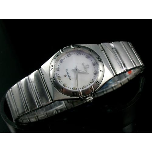 欧米茄星座系列瑞士女士手表 全钢钢带石英女表 白面