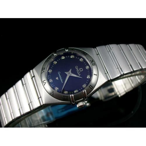 欧米茄星座系列瑞士女士手表 全钢钢带石英女表 黑面