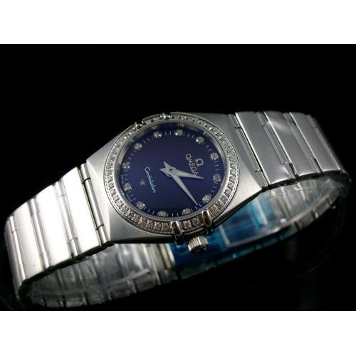 欧米茄星座系列瑞士女士手表 全钢镶钻石英女表 黑面