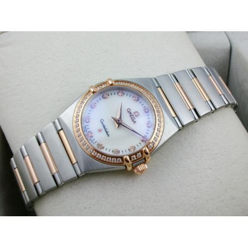 欧米茄星座系列女士手表 外壳镶钻包18K玫瑰金钢带罗马外壳两针钻石刻度瑞士石英女表