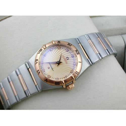 欧米茄星座系列女士手表 包18K玫瑰金钢带罗马外壳两针钻石刻度金色太阳纹路面面瑞士石英女表