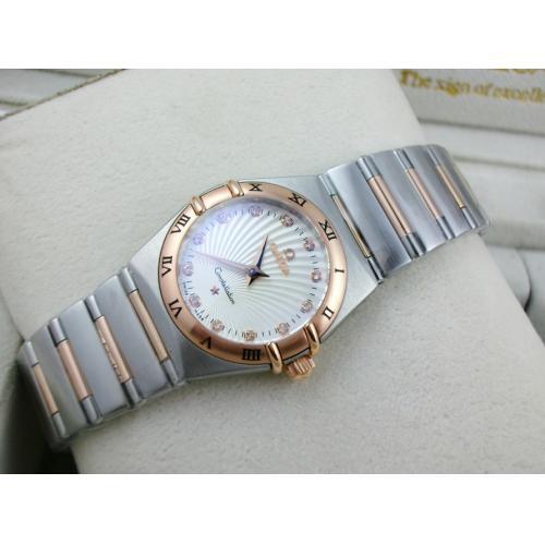 瑞士名表 欧米茄星座系列女士手表 包18K玫瑰金钢带罗马外壳两针钻石刻度白色太阳纹路面瑞士石英女表