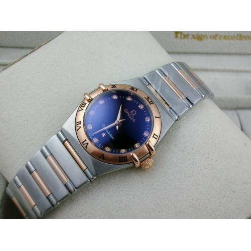 欧米茄星座系列女士手表 包18K玫瑰金钢带罗马外壳两针钻石刻度黑面瑞士石英女表