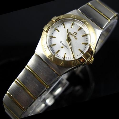 瑞士欧米茄OMEGA星座石英双鹰18K金超薄女表白面条丁刻度女士手表