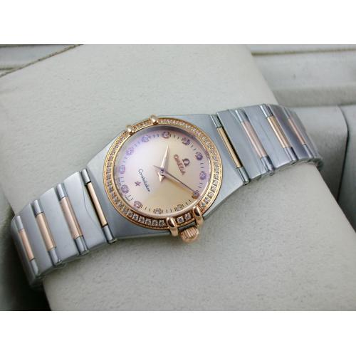 瑞士名表 欧米茄星座系列女士手表 外壳镶钻包18K玫瑰金钢带罗马外壳两针钻石刻度金面瑞士石英女表