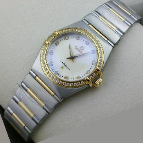 瑞士欧米茄OMEGA星座女表 瑞士18K玫瑰金人工镶钻两针女表手表 瑞士机芯