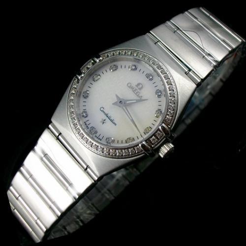 欧米茄OMEGA星座系列瑞士女士手表 全钢镶钻石英女表 白色隐标面 瑞士原装机芯