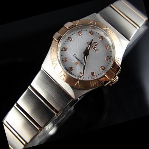 瑞士欧米茄OMEGA欧米伽星座石英双鹰18K玫瑰金超薄女表钻石刻度女士手表