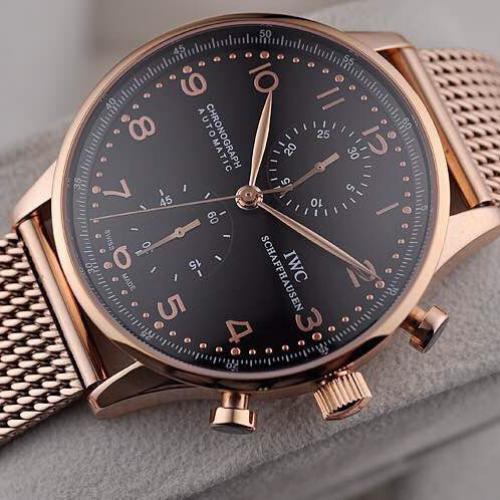 万国手表 瑞士7750原装自动机械计时机芯 18K全玫瑰金男表