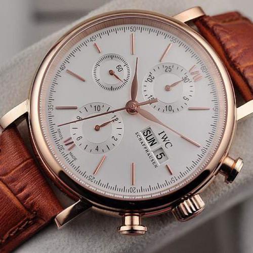万国多功能计时腕表 瑞士原装7750自动机械手表 18K玫瑰金男表 白面密底