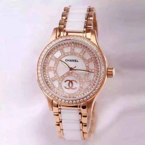 香奈儿chanel 女士自动机械高端手表 18K玫瑰金 高科技精密陶瓷腕表