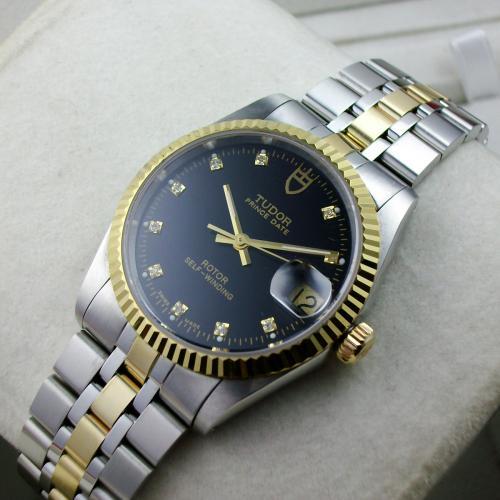 帝舵TUDOR王子系列包18K金黑面钻石刻度钢带自动机械男士手表