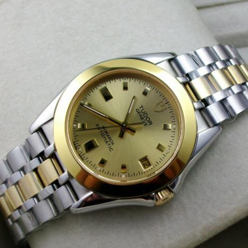瑞士帝舵王子系列 包18K金金面钢带条丁刻度自动机械男士手表
