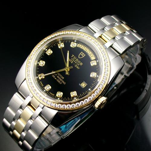 瑞士帝陀TUDOR海洋王子系列手表 奢华包18K金黑面镶钻自动机械双历男表