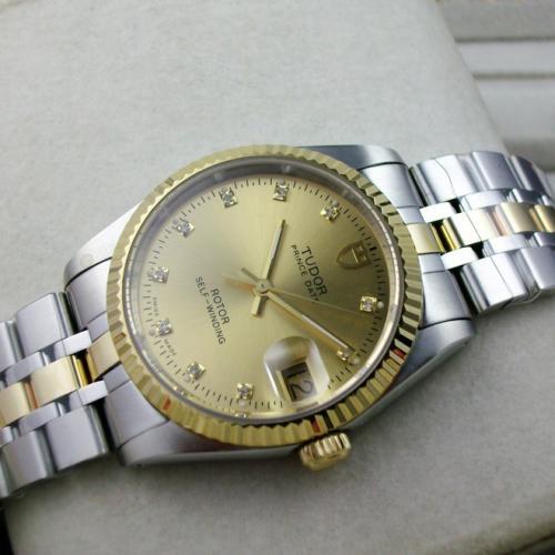 瑞士帝陀TUDOR王子系列包18K金金面钢带自动机械男士手表