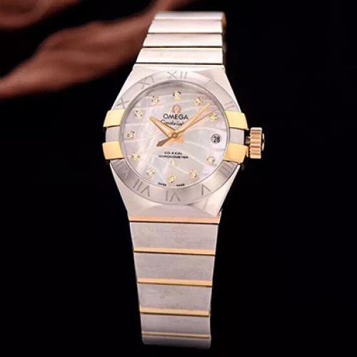 【爆款女表】欧米茄星座系列 18K金 钢带女士透底自动机械手表 香港组装