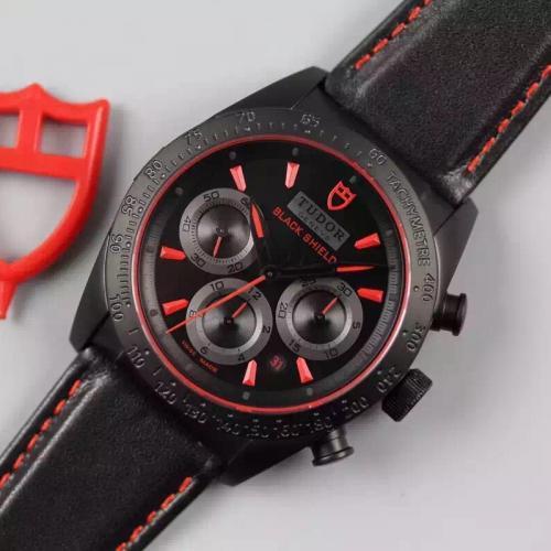 【高端专供】帝舵TUDOR FASTRIDER BLACK SHIELD黑盾系列42000CR皮带 复古迪卡度  自动机械瑞士男表 7753自动机械机芯 香港组装
