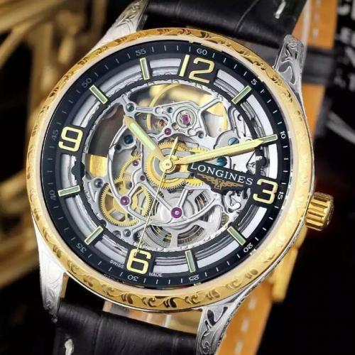 瑞士名表 浪琴(Longines)名匠系列  男士自动缕空雕刻机械表 18K金 高端男士手表 皮带