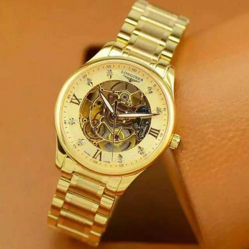 瑞士名表 浪琴(Longines)名匠系列  男士自动缕空机械表 18K金 高端男士手表