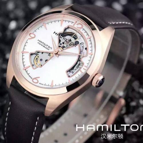 汉米尔顿HAMILTON缕空系列手表 18K玫瑰金 进口机芯 超薄 自动机械男表钢带