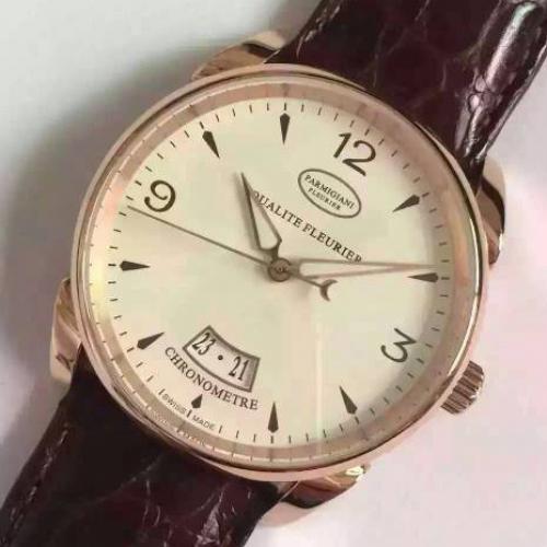 帕玛强尼(Parmigiani Fleurier) 18K玫瑰金 男士自动机械表手表  (送鳄鱼皮表带)高端腕表