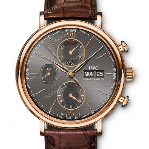 万国IWC 柏涛菲诺系列 IW391021 灰面 18K玫瑰金 皮带男士多功能自动机械手表