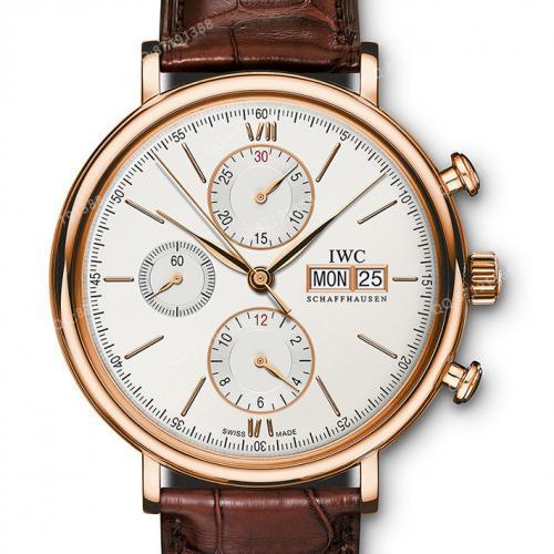 万国IWC 柏涛菲诺系列 IW391020 白面 18K玫瑰金 皮带男士多功能自动机械手表