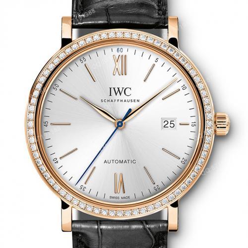 万国IWC 柏涛菲诺系列 IW356515 18K玫瑰金 镶钻 蓝针 男士自动机械手表