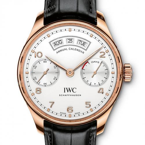 万国IWC 葡萄牙系列年历腕表自动腕表 18K玫瑰金白面 IW503504 自动机械男表