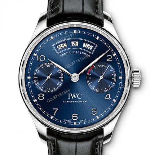 万国IWC 葡萄牙系列年历腕表自动腕表 蓝面 IW503502 自动机械男表