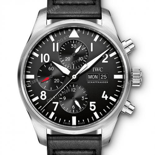 【爆款专供】万国IWC-飞行员计时腕表 IW377709 黑面白钢 男士自动机械表