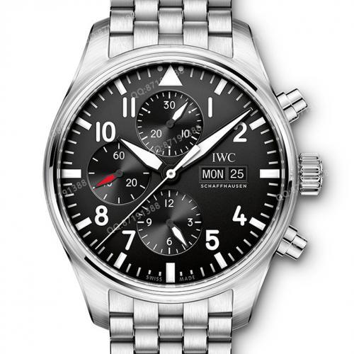 万国IWC-飞行员计时腕表 IW377710 黑面白钢 钢带男士自动机械表