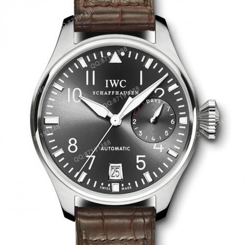 万国IWC-飞行员计时腕表IW500402 大型飞行员 灰面皮带男士自动机械表