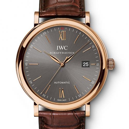 瑞士万国IWC柏涛菲诺系列IW356511 男表 18K玫瑰全自动机械男士透底手表 进口小牛皮表带 灰面