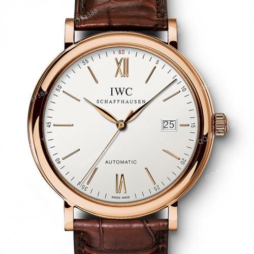 瑞士万国IWC柏涛菲诺系列IW356504 男表 18K玫瑰全自动机械男士透底手表 进口小牛皮表带 白面